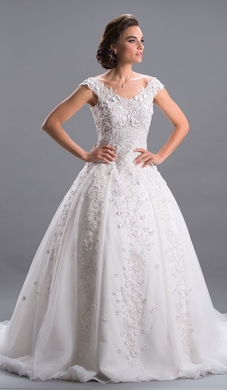 Designer bridal evening gowns for rent wedding dress rental in mireille dagher royal col bateau3 junglespirit Images