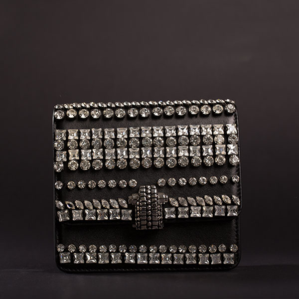 Black crystals embellished
