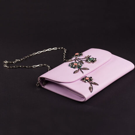 Leather floral patern embellished